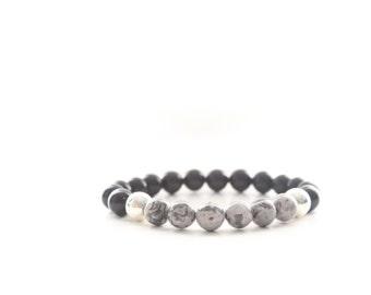 Black Agate and Jasper Gemstones Sterling Silver Beaded Bracelet
