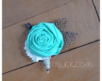 """Rustic Country """"Burlap & Mint"""" You Choose Color Wedding Boutonnieres  -Custom-"""