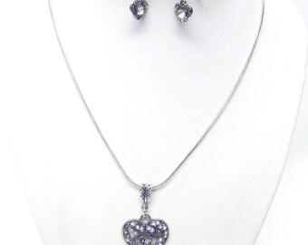 Silver Plated Filigree Heart w/Rhinestones Pendant Necklace & Earrings