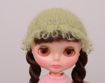 Clearance: Blythe doll sized lime green mohair fluffy winter hat with delicate beading for Neo or Kenner Blythe