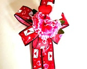 Valentine's day bow, Gift wrap bow, Red and pink bow, Holiday bow, Valentine holiday ribbon, Holiday decoration (V41)
