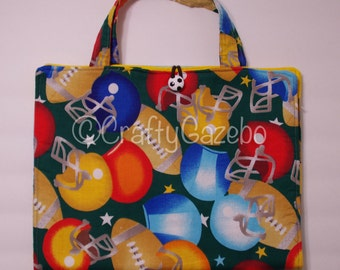 Coloring tote, Crayon tote, Coloring bag, Crayon Bag, travel bag for crayons - On the Gridiron