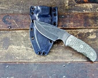 Custom Tactical Knife, Survival Knife with Handmade Leather Sheath and Tek-Lok #1520