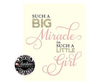 Baby Girl Nursery Art Printable Quote Such a Big Miracle in Such a Little Girl Nursery Wall Art Printable Quote Art Motivational Quote