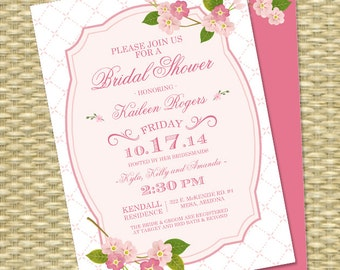 Spring Bridal Shower Invitation Cherry Blossoms Wedding Shower Spring Floral Bridal Brunch Bridal Tea, ANY EVENT