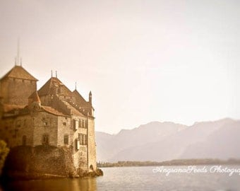 Switzerland Lake photos Lake Geneva Photos Castle photography Swiss architecture Mystical Chateau Chillon Fantasy image gift for her