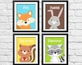 Forest animals nursery wall art, woodland decor nursery, kids bedroom forest posters, squirrel raccoon, fox rabbit art, kids fox decor