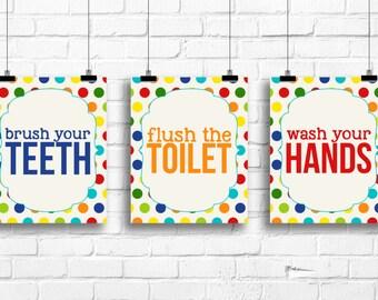 Polka dots bathroom decor, wash your hands, brush your teeth, flush the toilet, bathroom rules art, colorful bathroom prints, bathroom decor