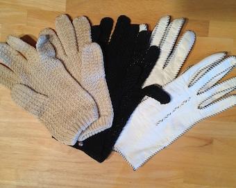 Three Vintage Ladies Gloves, Size 4: Crochet, Leather, Knit