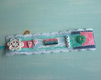 SALE Soar Mixed Media Fabric Cuff Bracelet