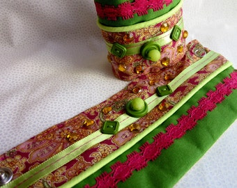 Green and Pink Paisley CLOTH CUFF With Green Ribbon Binding Tape Buttons Pink Ribbon Yellow Rhinestones