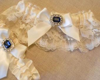 Wedding Garter Set -Sapphire blue Rhinestone Garter Set on a  Ivory  Lace Garter Set -