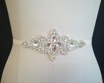 SALE Wedding Belt, Bridal Belt, Bridesmaid Belt, Bridesmaid Belt,, Crystal Rhinestone B107