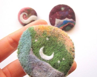 felt brooch, surreal moon and stars pin, needle felted wool jewelry, felted wool