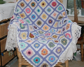Crochet Blanket Afghan Throw Lap Blanket Granny Squares Lilac White and multi by Lynwoodcrafts