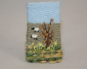 Embroidered Woven Brooch - Daffodils Catkins and Sheep hand stitched by Lynwoodcrafts