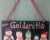Wooden snowman sign door hanger for holidays