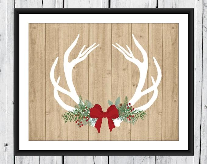 CHRISTMAS Deer Antlers - Hunting Lodge Decor - Rustic Wood Background - Antler Print