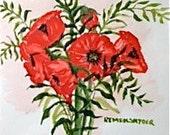 Red Poppies -- original watercolor  - AOE team