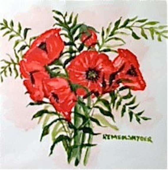Red Poppies -- original watercolor  - AOE team