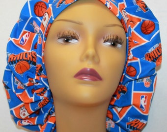 Bouffant Surgical Scrub Hat - New York Knicks bouffant scrub hat - Basketball Ponytail Scrub hat - Surgeons Scrub Cap - Doctors Gift