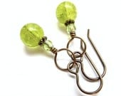 Dangle Earrings, Peridot, Neon Green, Crackled Glass with Fired Crystal Crystals In Aged Brass,