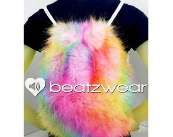 MADE TO ORDER FuZzy backpack rainbow tie dye furry fluffies rave bag festival faux fur purse drawstring backpack
