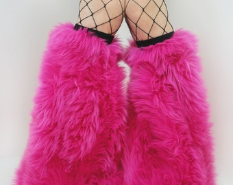 MADE TO ORDER  Fuzzy Leg Warmers hot pink fluffy boot covers trippy festival fashion rave fluffies leggings halloween costume