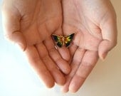 Butterfly Brooch, Gold, Black, Green, Yellow and Red Pin, Vintage Butterfly Pin, Women's Jewelry