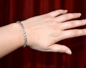 Coro Bracelet, Vintage Silver Bracelet, Rhinestone Bracelet, Women's Jewelry, Women's Jewellery, Vintage Jewelry
