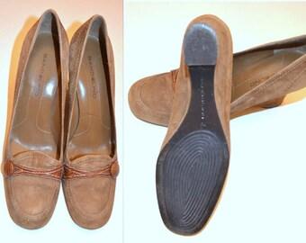 Women's Beige Suede Wedges Size 7, Bandolino Shoes, Beige Suede Leather Vintage Ladies' Shoes