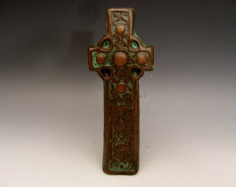 Celtic Cross with Knots and Motifs Green Bronze Irish Gaelic Stoneware Christian Baptism First Communion Confirmation Teacher Minister