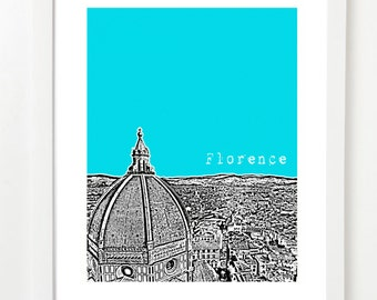 Florence Italy Art Print - Florence Italy Skyline Poster - Florence Cathedral - Florence Duomo - VERSION 2