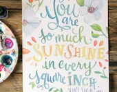 You are so much Sunshine in Every Square Inch - Walt Whitman Quote - Art Print