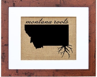 Montana Roots, Burlap Wall Art, Burlap, State Roots, Frame Included