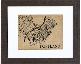 Portland Maine, Portland Map, Burlap art, Burlap Wall Decor, Frame Included