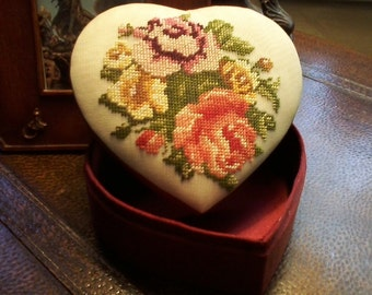 Rose Embroidered Heart Box