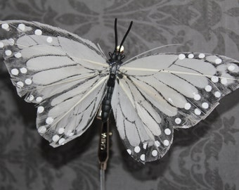 Black and White Feather Butterfly Hair Clip