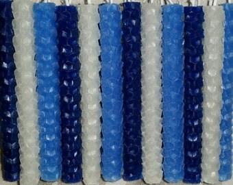Hanukkah - Blues & White - Chanukah Candles - 100% Natural Beeswax