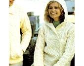 """Vintage 70's Knit """"HOODED"""" Sweater - PDF Pattern - ARAN"""