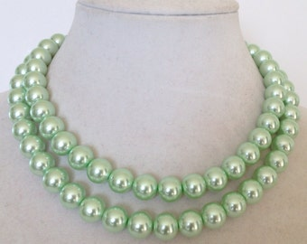 Mint Green Necklace, Mint Green Pearl Necklace, Green Pearl Necklace, Multi Strand Pearl Necklace, Light Green Pearl Necklace,Green Necklace