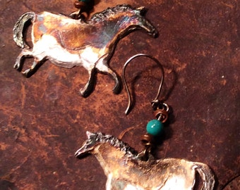 Cave Horses of Lascaux Large Earrings