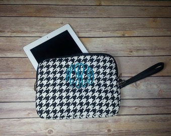 iPad Case, Quilted iPad Case, monogram Houndstooth iPad Case with wrist strap