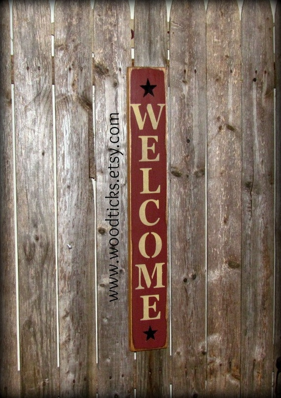 Wood welcome sign front door decor welcome home welcome - Wooden door signs for home ...