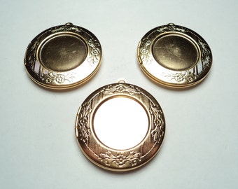 3 pcs -  Matte gold plated round 30mm brass lockets with setting -  m205mg