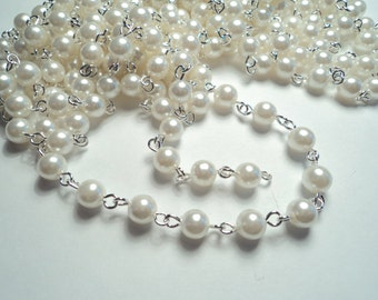 10 ft- Bright Silver plated 6mm white pearl link chain -m179w