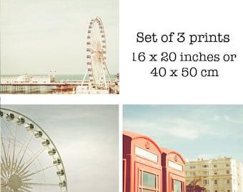 Nautical prints - Set of 3 Seaside Photography Prints - Ferris Wheel photography