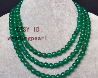 green agate necklace, 8mm  triple strands green bead necklace,  green necklace, lady necklace,  Christmas present gift,bridesmaid necklace