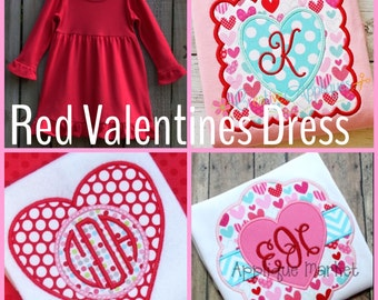 Valentine's Day red long sleeve knit dress