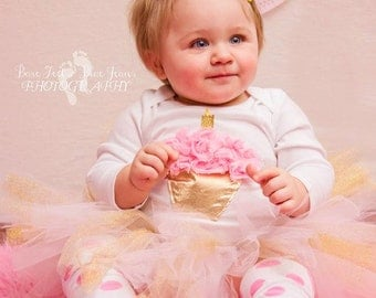 Pink and Gold Cupcake Birthday outfit SHORT sleeve AVAILABLE